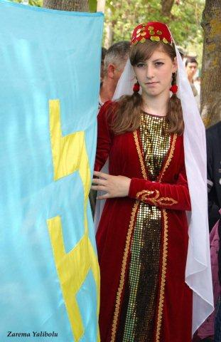 A Crimean Tatar girl at rally in 2010